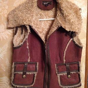Black Rivet Anthropologie fleece leather vest